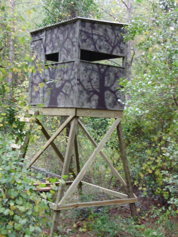 Wood deer stand platform wistful29gsg for Inside deer blind ideas